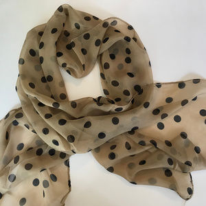 Accessories - Vintage Classic Sheer Scarf with Black Dots NEW